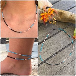 🍊🌿Handmade Double Wrap Anklet & Necklace🌿🍊